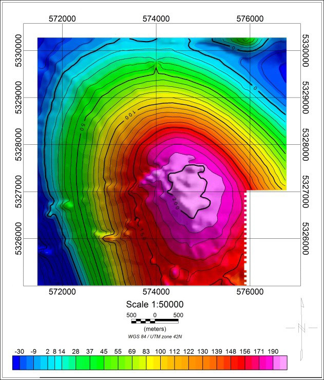 ABnormal magnetic field Geoscan 401 Geophysics (Survey scale 1:10 000, 2017)