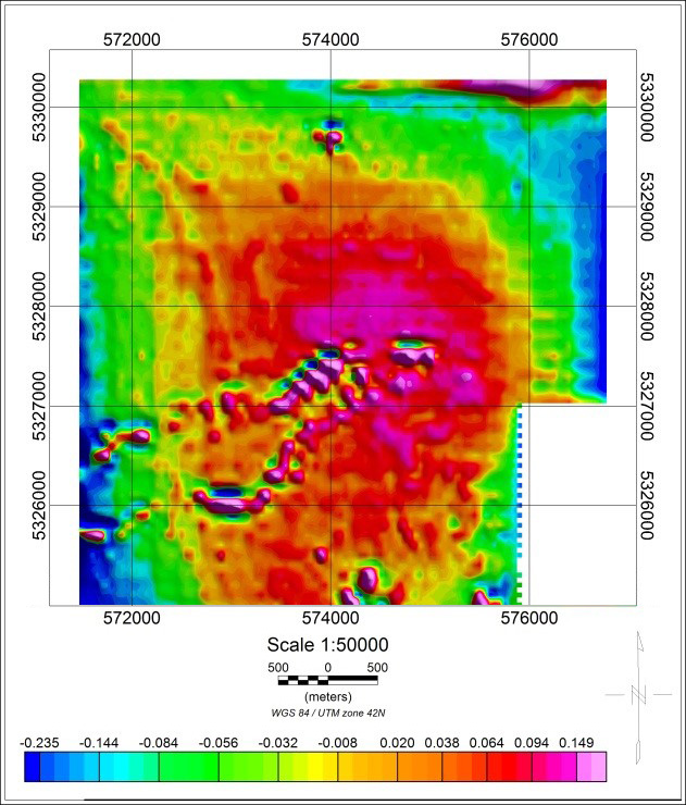 Magnetic field vertical gradient Geoscan 401 Geophysics (Survey scale 1:10 000, 2017)